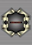 Försilvra ramen för emblemet på randig bakgrund Fotografering för Bildbyråer