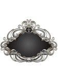 Försilvra ramen med heraldik och dekoren av pärlor och vridna kurvor Royaltyfria Bilder