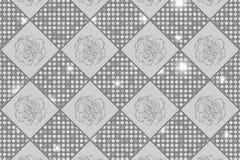 Försilvra sömlöst schack utformad tappningtextur med kryddnejlikablommor och skinande rundor royaltyfri illustrationer