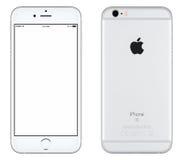 Försilvra sikten för modellen för den Apple iPhonen 6s den främre och den tillbaka sidan Arkivfoton