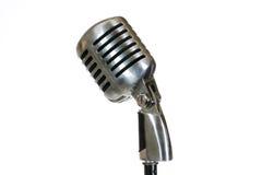 Försilvra tappningmikrofonen i studion på vit bakgrund Fotografering för Bildbyråer