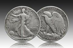 Försilvrar halv dollar 1942 för Förenta staterna myntet royaltyfria bilder