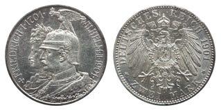 Försilvrar Prussian tyskt Preussen för Tyskland fläck två 1901, den 200. årsdagen för mynt 2 av dynasti arkivfoto