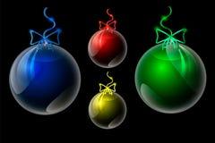 Försilvrar realistiska genomskinliga för vektor bollen för jul och för det nya året stock illustrationer
