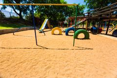 Förskole- lekplats för tom mång- färg royaltyfria foton