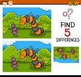 Förskole- uppgift av skillnader Arkivbild