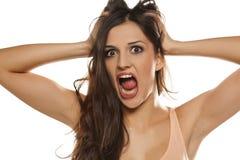 förskräckt kvinna royaltyfria foton