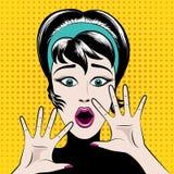 Förskräckt kvinna för popkonst vektor illustrationer