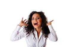 förskräckt kvinna för rädd affär Arkivfoto
