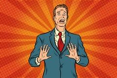 Förskräckt manlig affärsman royaltyfri illustrationer