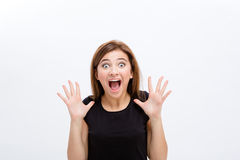 Förskräckt skrikig ung kvinnlig i svartöverkant över Arkivfoton