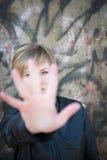 Förskräckt tonårig flicka Arkivfoton