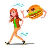 Förskräckt tonårig flicka som kör i väg från hamburgarevektor Isolerad tecknad filmillustration vektor illustrationer