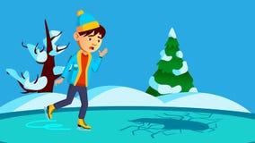 Förskräckta Little Boy som åker skridskor på bruten is av flodvektorn isolerad knapphandillustration skjuta s-startkvinnan royaltyfri illustrationer