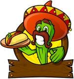 Förstående kaktus med en mexicansk taco Arkivfoto