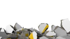 Förstörande vägg med målad logo av Mcdonald Begreppsmässig redaktörs- animering 3D för kris lager videofilmer