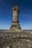 Förstörd övergiven fyr, Whiteford sander, Gower Peninsula, så Royaltyfria Bilder