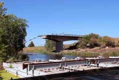 förstörd bro Royaltyfria Bilder