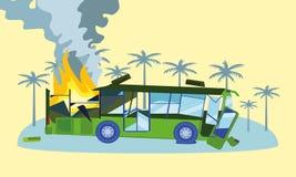 Förstörd buss i brandbegreppsbanret, plan stil royaltyfri illustrationer