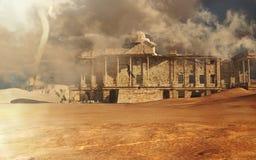 Förstörd byggnad på öknen Arkivfoto