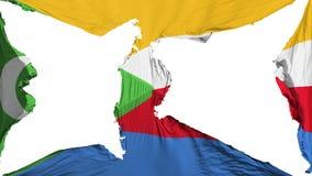Förstörd Comoros flagga stock illustrationer