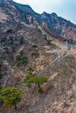 Förstörd del av den stora Kina väggen Arkivbild