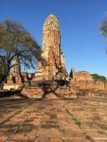 Förstörd forntida tempel av det Ayutthaya kungariket Royaltyfria Foton