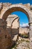Förstörd kloster av Timios Stavros In Anogyra Village i Cypros Arkivbilder
