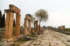 Förstörd kolonn av Hierapolis royaltyfria foton