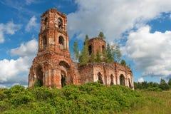 Förstörd kyrka av vår dam av Kazan Arkivbild