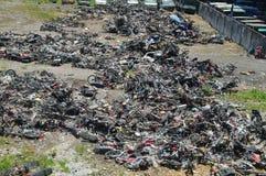Förstörd olaglig operation av den elektriska cykeln Royaltyfria Foton