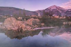Förstörd sikt av Norcia efter jordskalvet Arkivbilder