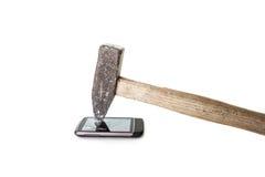 Förstörd skärm av en telefon Arkivfoton