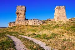 Förstörd slott av Palenzuela Arkivbild