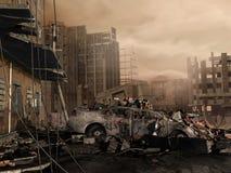 Förstörd stad royaltyfri illustrationer