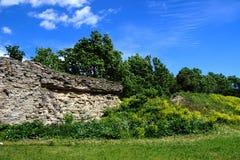 Förstörd stenvägg i ett fält utanför staden på wina för blå himmel Royaltyfri Bild