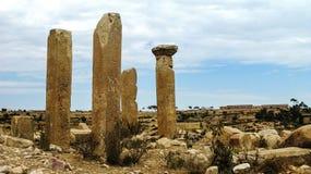 Förstörd tempel av Mariam Wakino i Qohaito den forntida staden Eritrea Royaltyfria Bilder