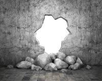 Förstörd vägg av den konkreta strukturen Begrepp av flykten till frihet 3d illustration Arkivfoton