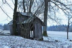Förstörd wood byggnad Fotografering för Bildbyråer