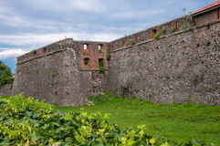 Förstörda väggar av den forntida fästningen i Ukraina royaltyfria bilder