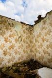 förstörda wallpaperväggar för modell Arkivfoton