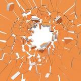 Förstörelse av den orange väggen på vit bakgrund 3D Royaltyfri Bild