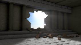 Förstörelse av en korridor med kolonner Fotografering för Bildbyråer