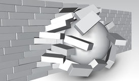Förstörelse av en tegelstenvägg 3D som bryter tegelstenväggen Vägg som är slagen eller ifrån varandra bryter Abstrakt bakgrund fö vektor illustrationer