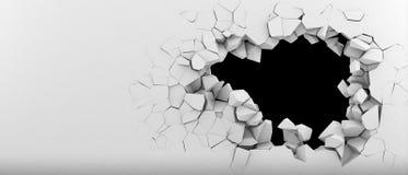 Förstörelse av en vit vägg Arkivfoton