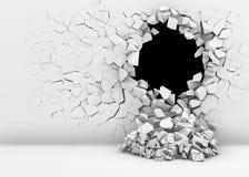 Förstörelse av en vit vägg Royaltyfri Foto