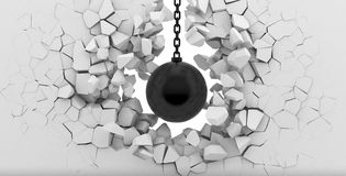 Förstörelse av en vit vägg Arkivbild