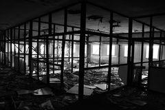 förstört brandkontor Arkivbilder