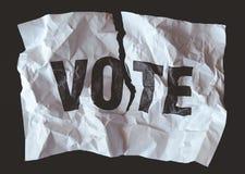 Förstört papperswithÂord att rösta utskrivavet, Â-krasch av demokrati fotografering för bildbyråer