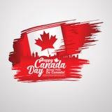 Först av den Juli Kanada dagen, bakgrund för hälsningkort med typografidesign royaltyfri illustrationer